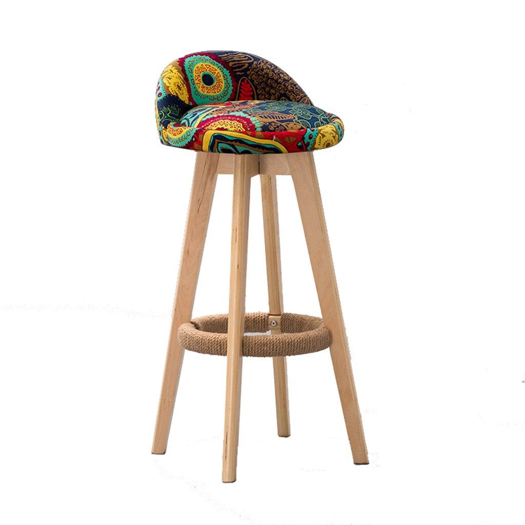 スツールファッションナショナル風バーリネンソリッドウッドコットンリネン素材スイベルチェアバースツーカフェテリア、シート高さ71.5cm/64cm (色 : B, サイズ さいず : 71.5cm) B07CJRWTY3 71.5cm|B B 71.5cm