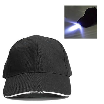25aa830d8 Amazon.com : Unisex Ultra Bright 5 LED Baseball Cap with LED Lighted ...