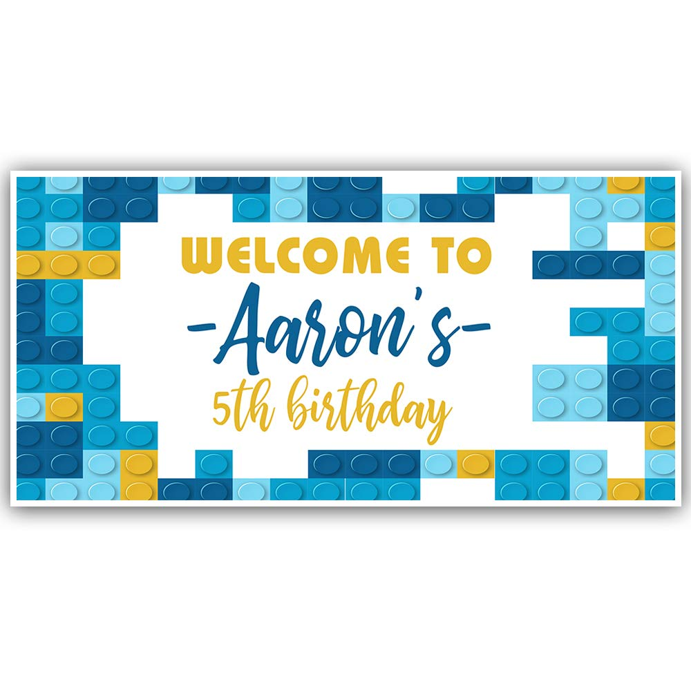 Birthday Building Blocks Banner Personalized Decoration Backdrop