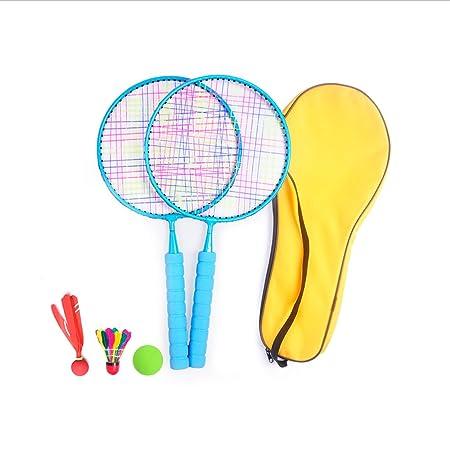 Jieling Badminton Racket Set for Kids Gifts Small Tennis Rackets Toy Birdie Shuttlecocks Racquets Balls Racquet Birdies Led Shuttlecock Children Mini Child Backyard Toys Kid Beginner Pink Blue by
