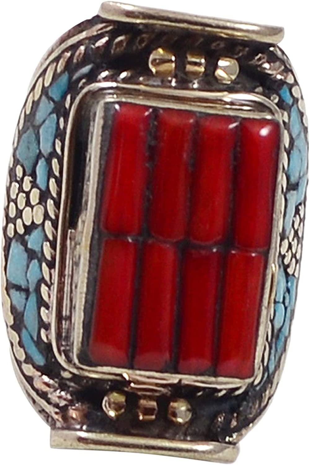 Saamarth Impex Coral /& Turquoise 925 Silver Plated Ring Sz 8 PG-117732