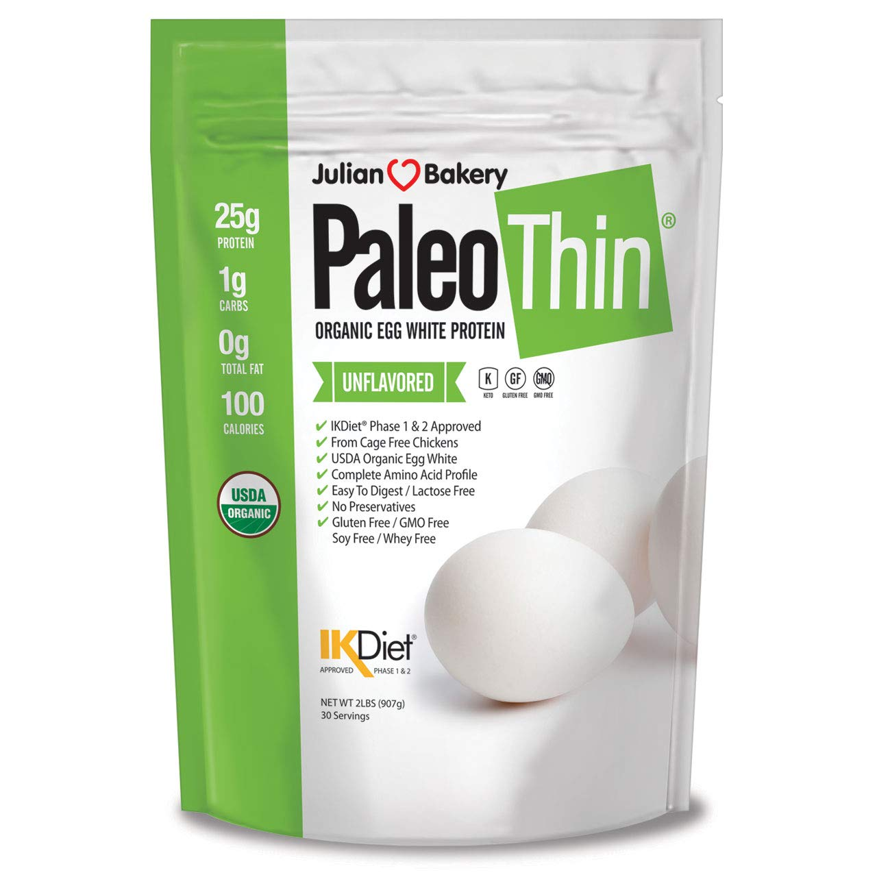 Paleo Thin® Organic Egg White Protein Powder (2 LBS Total)(Soy-Free)(30 Servings Total) (GMO-Free) by Julian Bakery