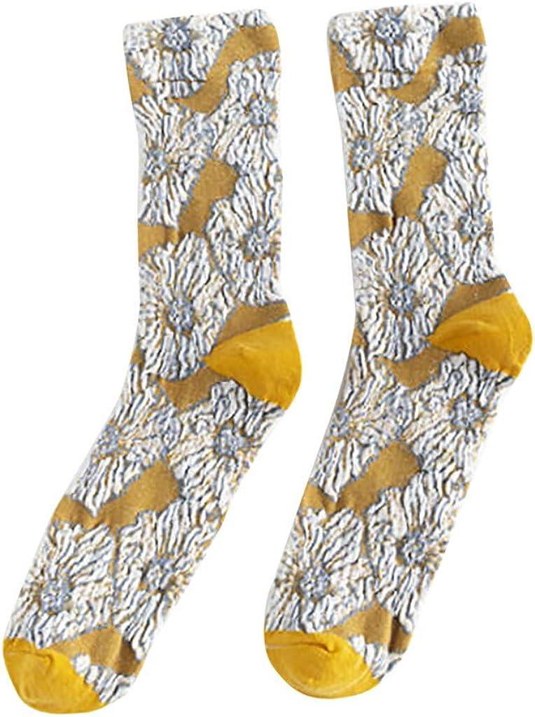 FELZ Calcetines Mujer Termicos Calcetines Plisados Retro Creativos ...