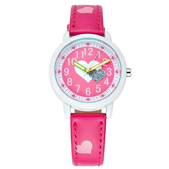 FEOYA - Niñas Reloj de Pulsera Cuarzo Analógico Formado Redondo Dibujo de Corazón para Niñas Chicas de Moda - Rosa Osuro: Amazon.es: Relojes