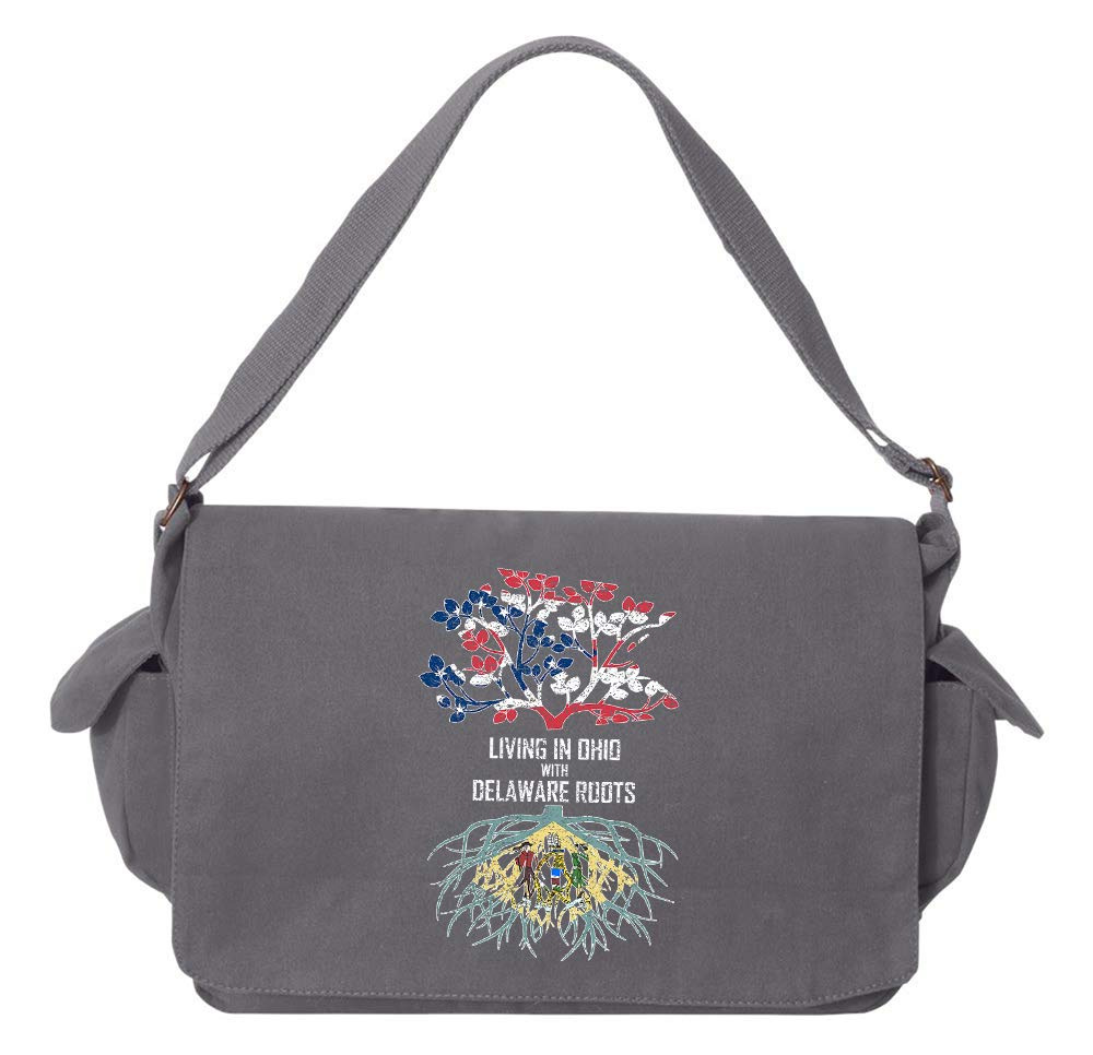 Tenacitee Living In Ohio with Delaware Roots Grey Brushed Canvas Messenger Bag