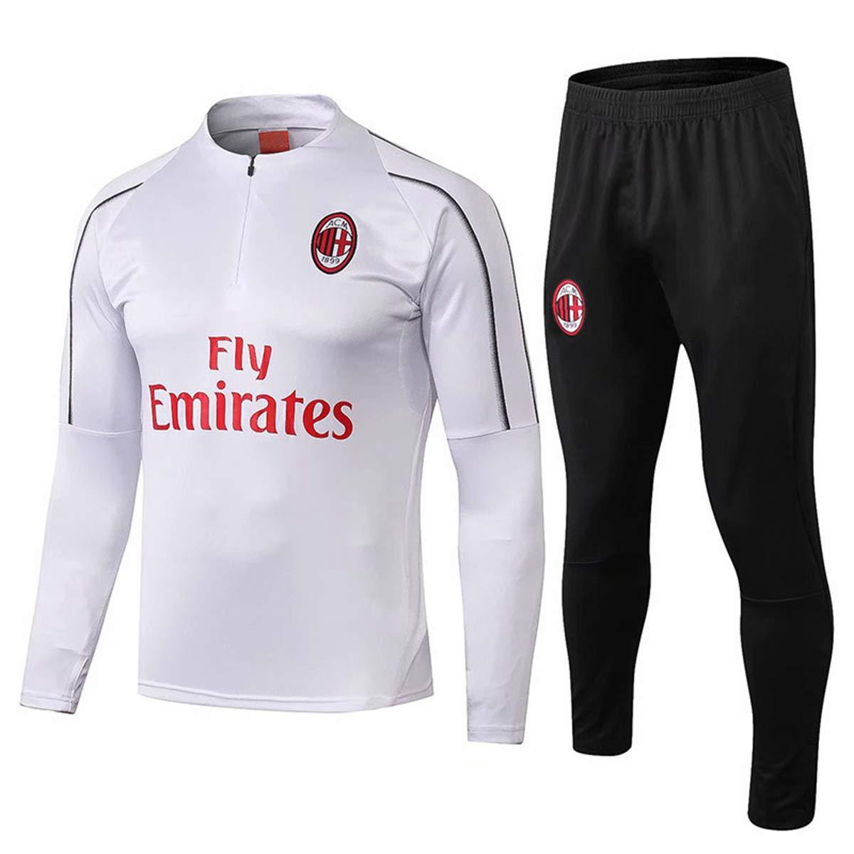 Set Di Felpe Da Uomo Tute A Maniche Lunghe AC Milan Rossoneri Camicie Da Allenamento Per Adulti Con Scollo Tondo Da Calcio