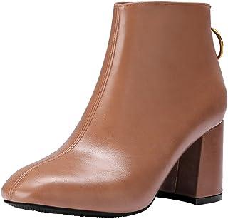 Lady Escarpins,Femmes Britanniques Bottes tête carrée zippée épaisse Chaussures à Talons Hauts,Sandales