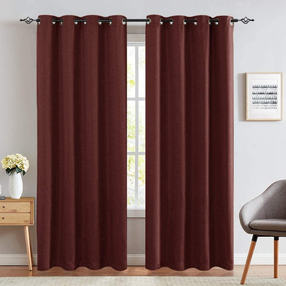 95 Inches Burgundy Curtains Drapes Grommet Top Blackout Curtains Linen Textured Bedroom Drapes Thermal Insulated Kitchen Window Treatment Set 2 Panels