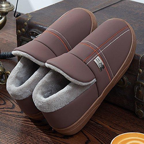 y-hui un par de zapatillas de algodón con hombres bolsa interior impermeable Home Muebles Cálido Grueso No Slip Home, 40/41(apto para 39/40pies a tiempos ordinari), Café