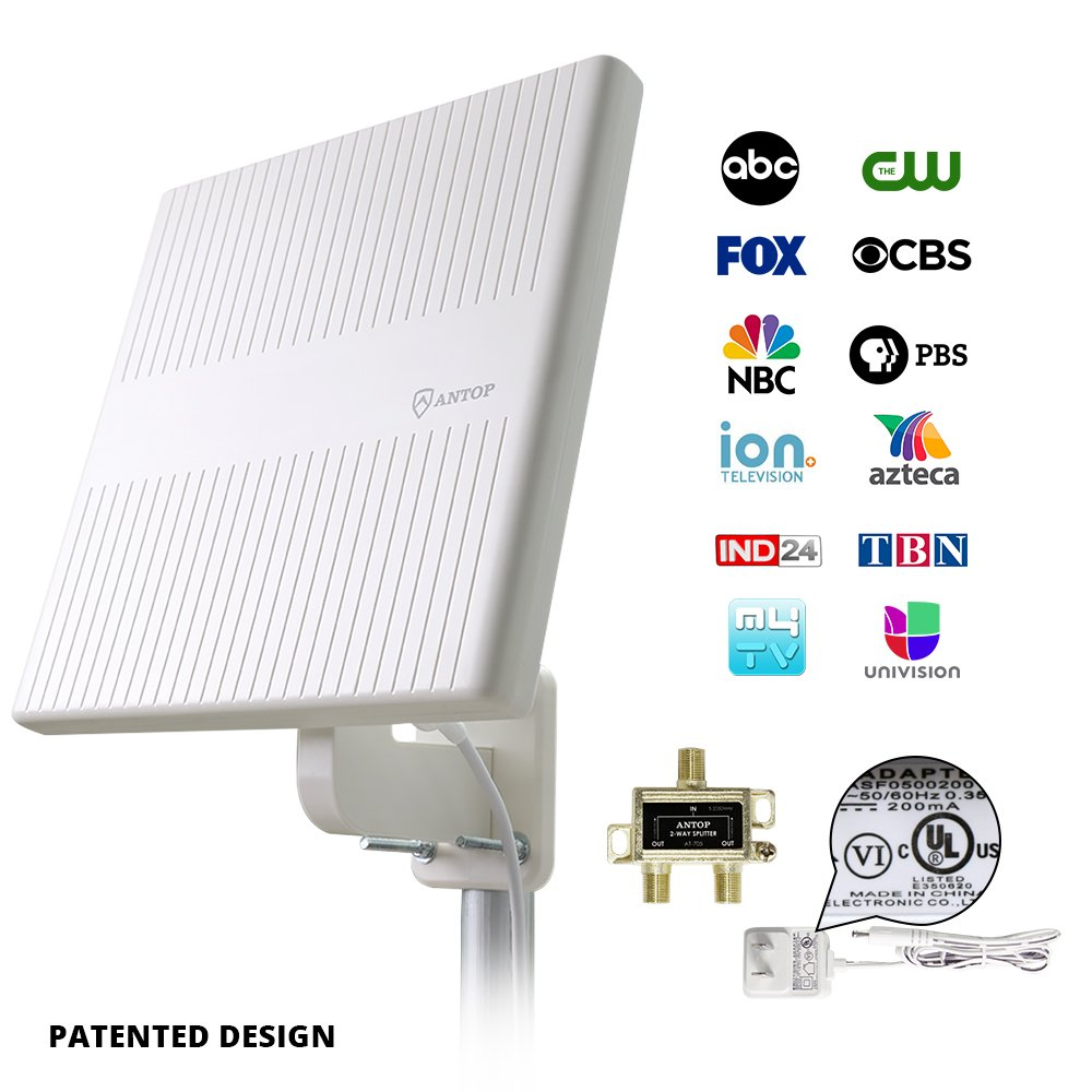 Outdoor TV Antenna for Multiple TVs,ANTOP 65 Miles Digital Amplified  Outdoor RV/TV Antenna 360 Degree Omni Directional for UHF/VHF Reception  Enhanced
