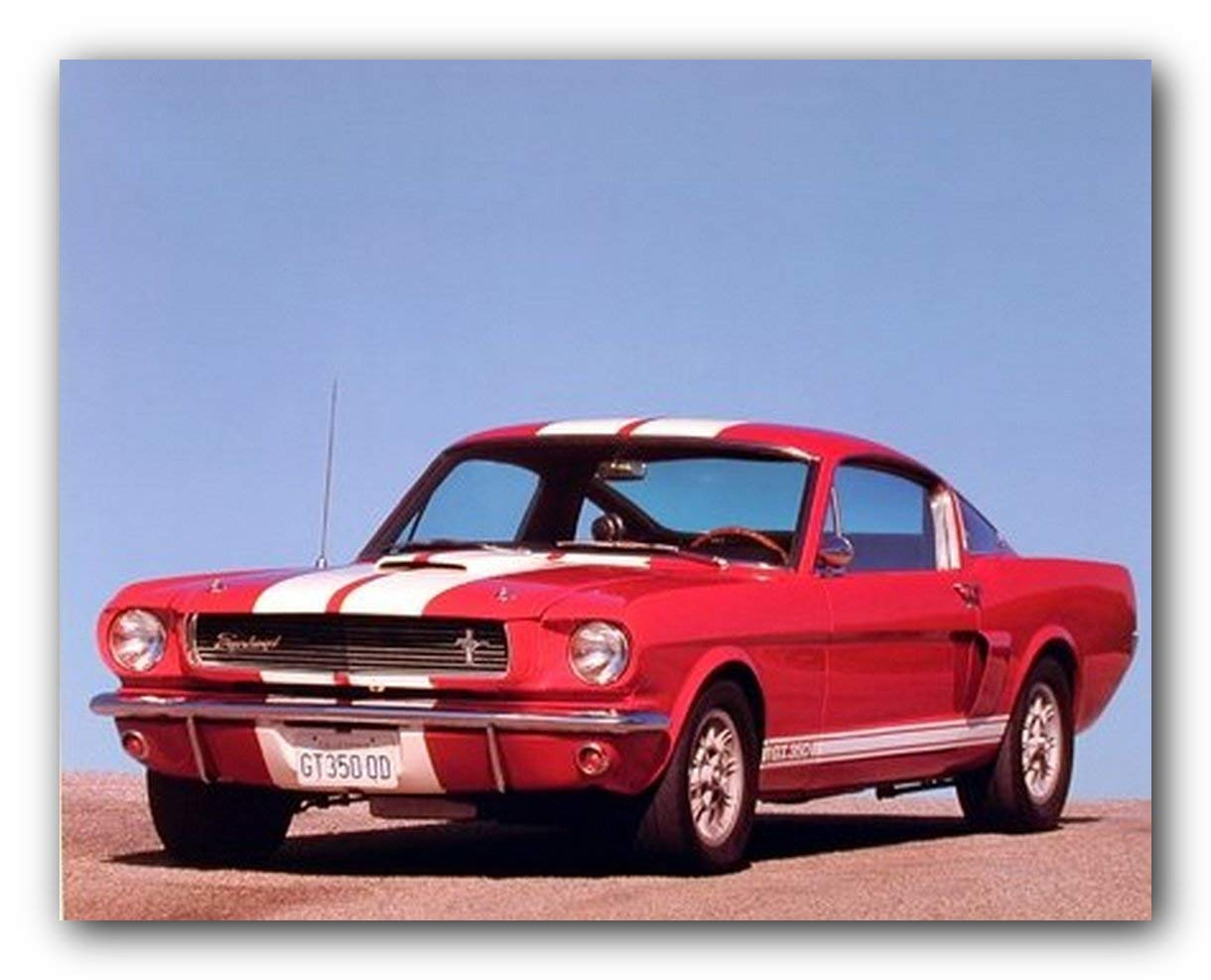 Amazon com 1966 red ford shelby gt 350 mustang vintage car art print poster 16x20 classic mustang poster posters prints