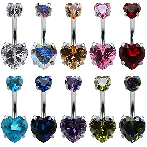 heart belly rings - 7