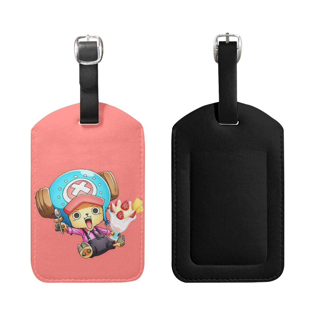 Set of 2 PU Leather Luggage Tags Tony Tony Chopper Suitcase Labels Bag Adjustable Leather Strap Travel Accessories