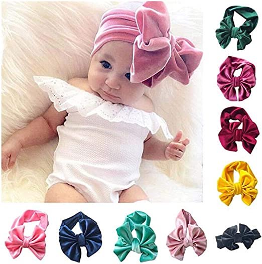 Junecake 9PCS Baby Girls Headbands,Cotton Bow Hair Band Colorful Hairbands Hair Accessories for Newborns Infants Toddlers