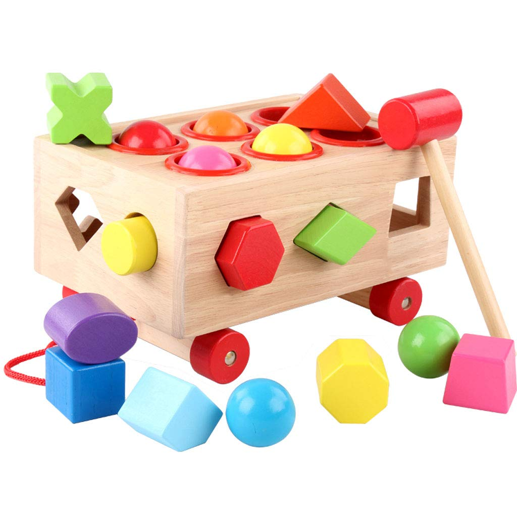 ZYN Early Childhood Educational Toys Shape Matching Wooden Block Knock On The Piano Knocking The Ball Boy Girl (Color : Knock The Ball)