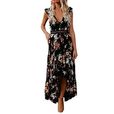 35dacc64f56a Longra Damen Boho Kleider V-Ausschnitt Sommerkleid Lang Strand Abendkleid  Blumendruck Maxikleid Frauen Mode Ärmellos