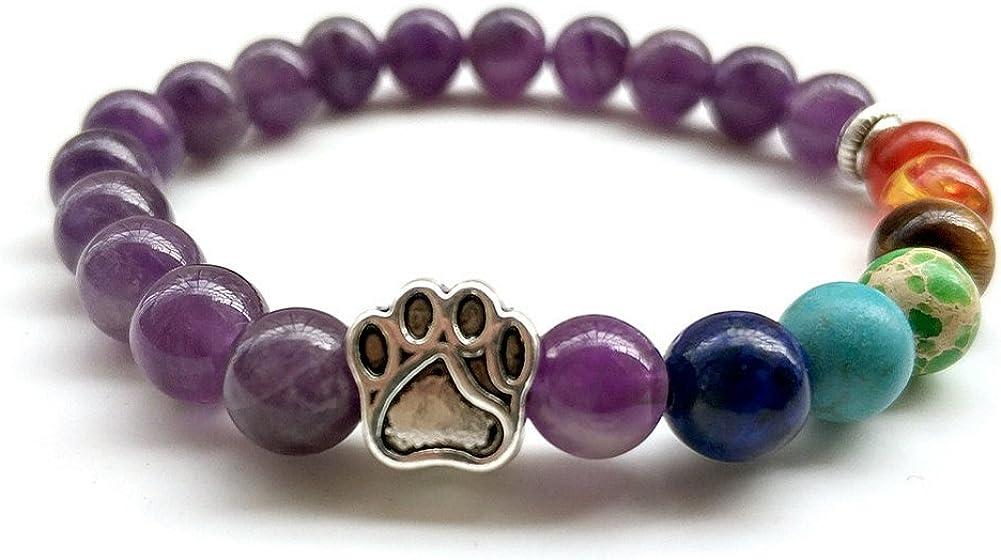 Natural Stone 7 Chakra Dog Paw Charm Lava Rock Mala Beads Elastic Bracelet Yoga Meditation Healing Bangle