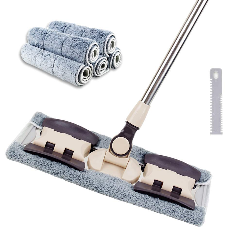 VAIIGO Professional Microfiber Hardwood Floor Mop, Flat Mops with 5 Pieces Reusable Washable Pads for Home and Office Wet or Dry Floor Cleaning by VAIIGO