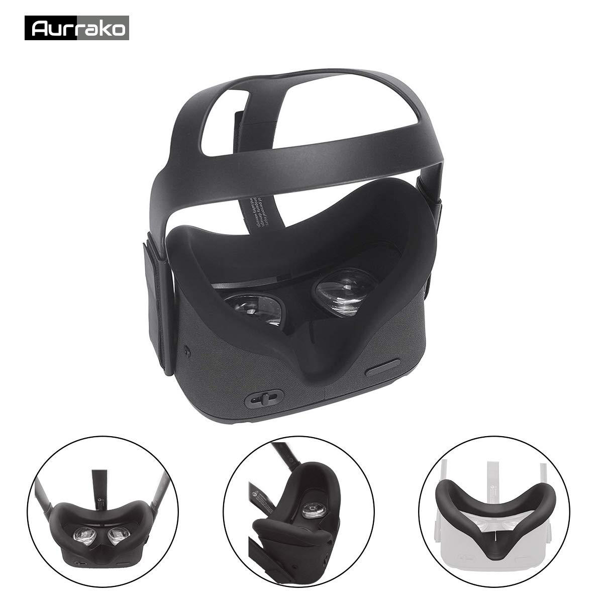 Aurrako Vr Face Pad for Oculus Quest VR Headset Accessories, Silicone Face Cover Mask Easy Wipe Clean Sweatproof Light…