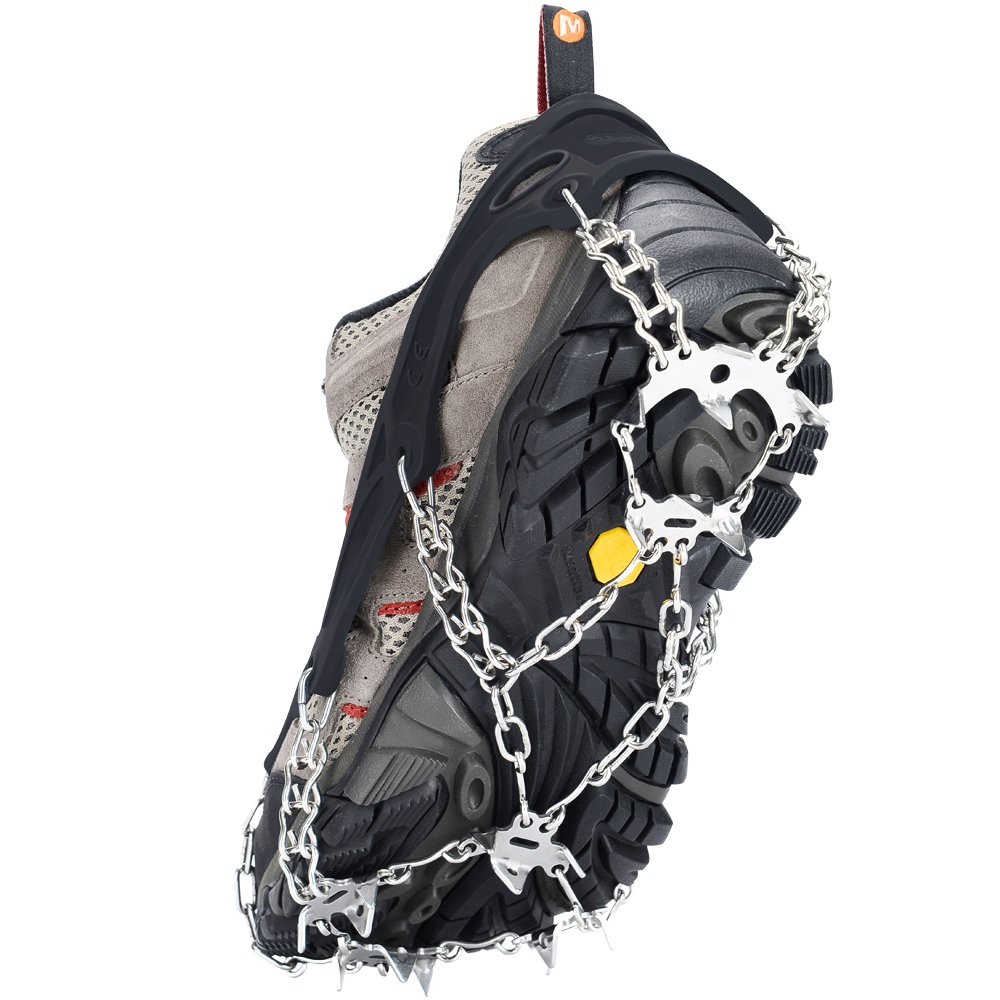 Uelfbaby Crampon Micro Spikes ice Snow Grips Traction Cleats System Safe Protect for Walking, Jogging, or Hiking on Snow and Ice, (19 Spikes/Black)