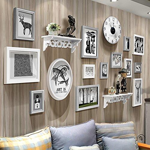 YJH+ ソリッドウッドフォトウォール現代シンプルな写真の壁の家の背景装飾フレームフォトウォール 美しく、寛大な ( 色 : D ) B072QBFFR9D