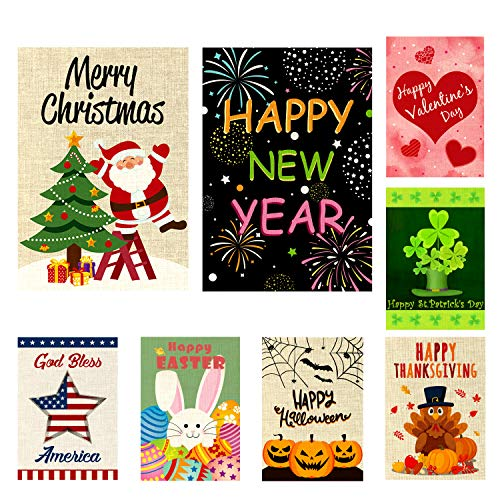 WATINC 8 Pack Seasonal Garden Flags for Happy Halloween Thanksgiving Welcome Fall Winter Merry Christmas New Year Holiday Decorations Double Sided Burlap House Flag for Outdoor Yard 12.4 x 18.2 Inch (Garden Flag Y)