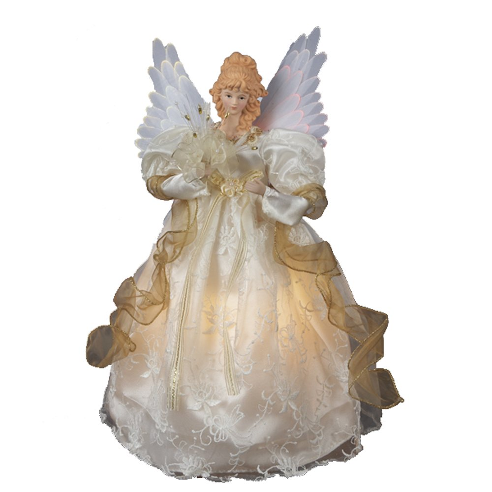 Amazon Com Kurt Adler 14 Inch Fiber Optic Ivory And Gold Animated  - Christmas Tree Angel Toppers