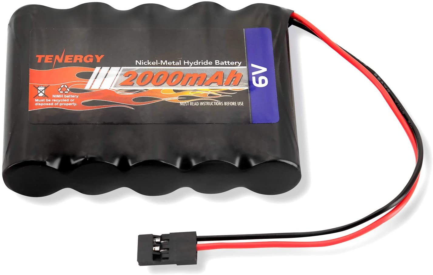 Tenergy NiMH Receiver RX Battery with Hitec Connectors 6V 2000mAh High Capacity Rechargeable Battery Pack for RC Airplanes/RC Aircrafts and More: Toys & Games