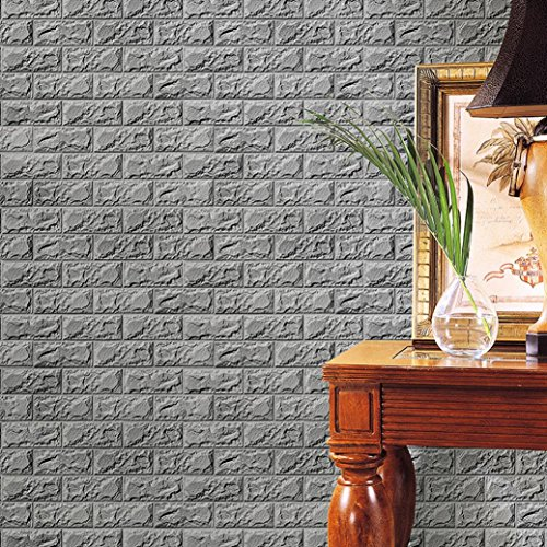 Sinwo DIY PE Foam 3D Wallpaper DIY Wall Stickers Wall Decor Embossed Brick Stone New (Gray, Size: 60 X 30 X 0.8cm)