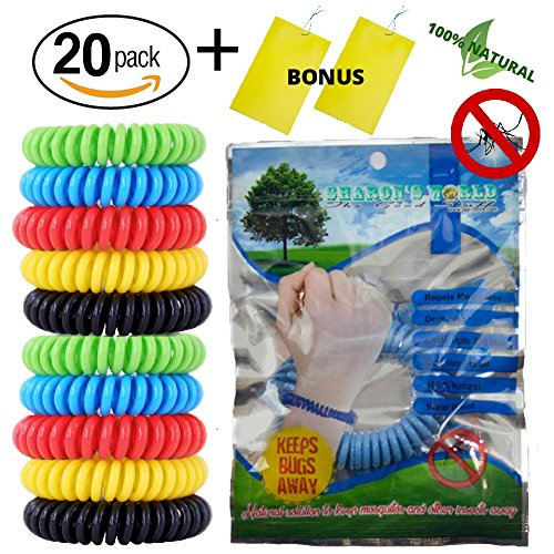Mosquito Insect Repellent Bracelet – 20 pack– Lasts for 300 Hours - Pest Control for Kids and Adults – No Deet – 100% Natural Bug Insect Protection – Waterproof Colorful Wrist Band