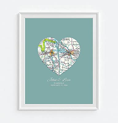Personalized Wedding Couple 2 Heart Maps Art Print, UNFRAMED, Customized Wedding gift, Engagement Gift, Anniversary Gift, Valentines day gift, Housewarming gift