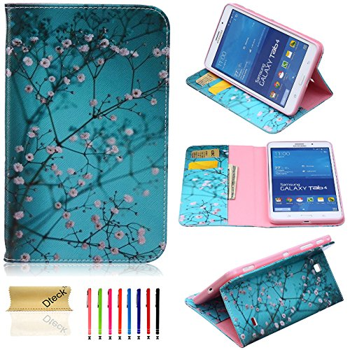 Galaxy Tab 4 7.0 Inch Case, Dteck(TM) Slim Cute Art Print PU Leather Stand Case Cover [Cards/Money Slots] Flip Wallet Protect Case for Samsung Galaxy Tab 4 7.0 SM-T230/T231 (05 Pear Flower) (Samsung Galaxy Tab 4 Case Art)