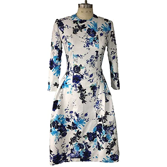 Leeymon Floral Printed Dress A line Jacquard Mother Of The Bride Midi Evening Gown Cocktail Party