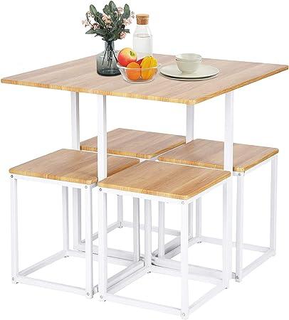 Juego de mesa de comedor, mesa de comedor y 4 sillas, juego de mesa de cocina