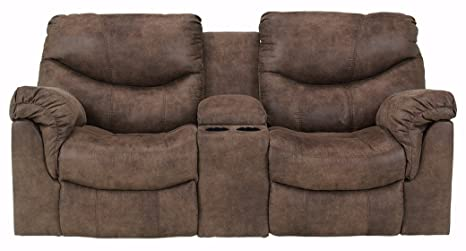 Incredible Ashley Furniture Signature Design Alzena Recliner Loveseat With Console Manual Reclining Couch Gunsmoke Brown Gamerscity Chair Design For Home Gamerscityorg