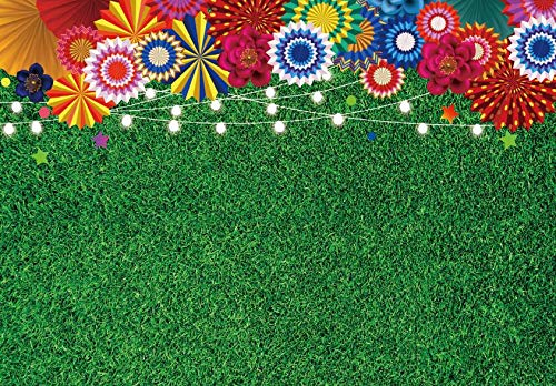 7x5ft Durable/Soft Fabric Green Grass Party Backdrop Floral Safari Jungle Leaves Wedding Bridal Baby Shower Birthday Party Decorations Photography Background Banner Photo Booth Studio Props.