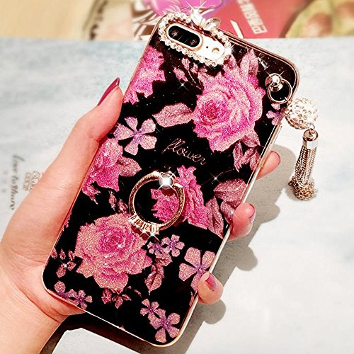 Price comparison product image iPhone 6 Plus Crystal TPU Case,Inspirationc Diamond iPhone 6S Plus Case Bling Glitter Rhinestone Soft Silicone Rubber Bumper Case with 360 Ring Stand Holder for iPhone 6 Plus/6S Plus--Pendant Rosemary