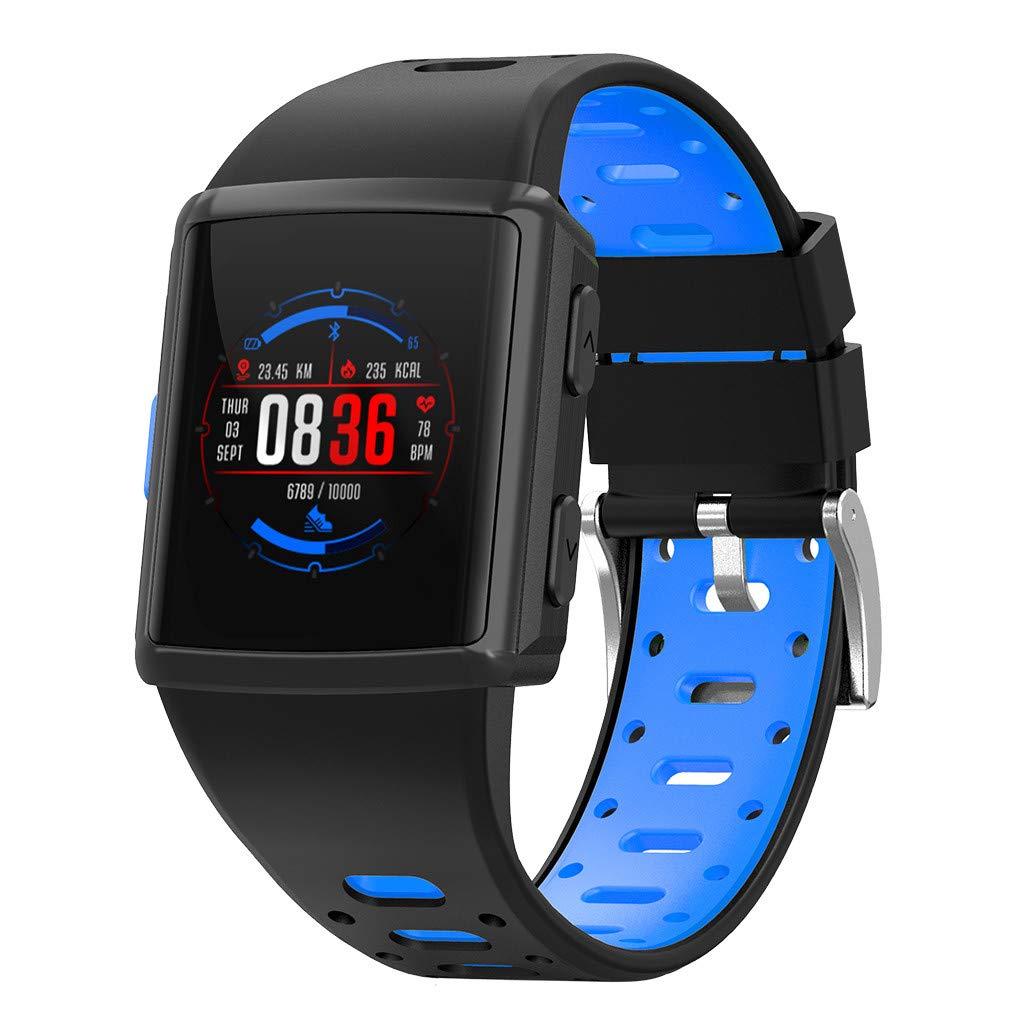 YNAA for iOS Android, Waterproof Sport Smart Watch, Smart Bracelet Blood Pressure Heart Rate Monitoring Tracker GPS Watch (Blue)