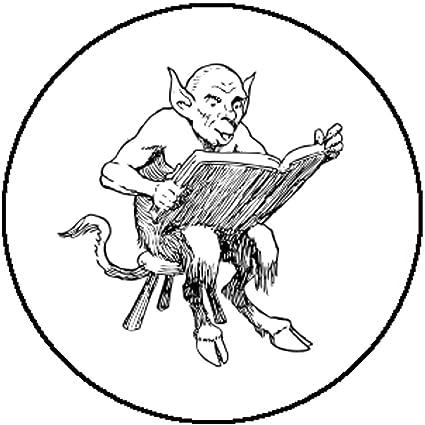 Amazoncom New Badge Button Pin Cute Demon Devil Reading Book