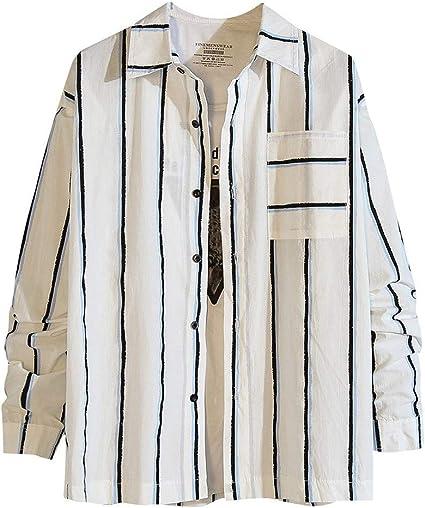 ZODOF camisa hombre camisas sport Nuevo Casual Comodo Moda A rayas Suelto Bolsillo Solapa Manga larga Camisa Tops Blusa Moda para hombre camisa lino hombre(L,Azul): Amazon.es: Instrumentos musicales