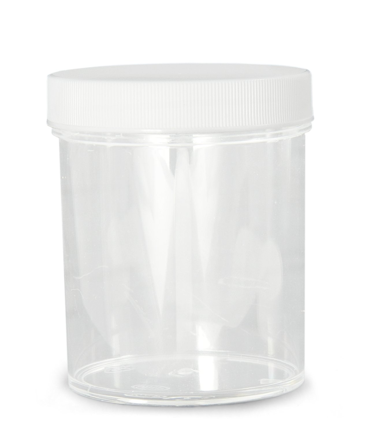 Case of 48 Clear Qorpak PLC-03724 Polystyrene Jar with 53-400 White Polypropylene SturdeeSeal Polyethylene Foam Cap 52mm OD x 46mm Height 2oz Capacity