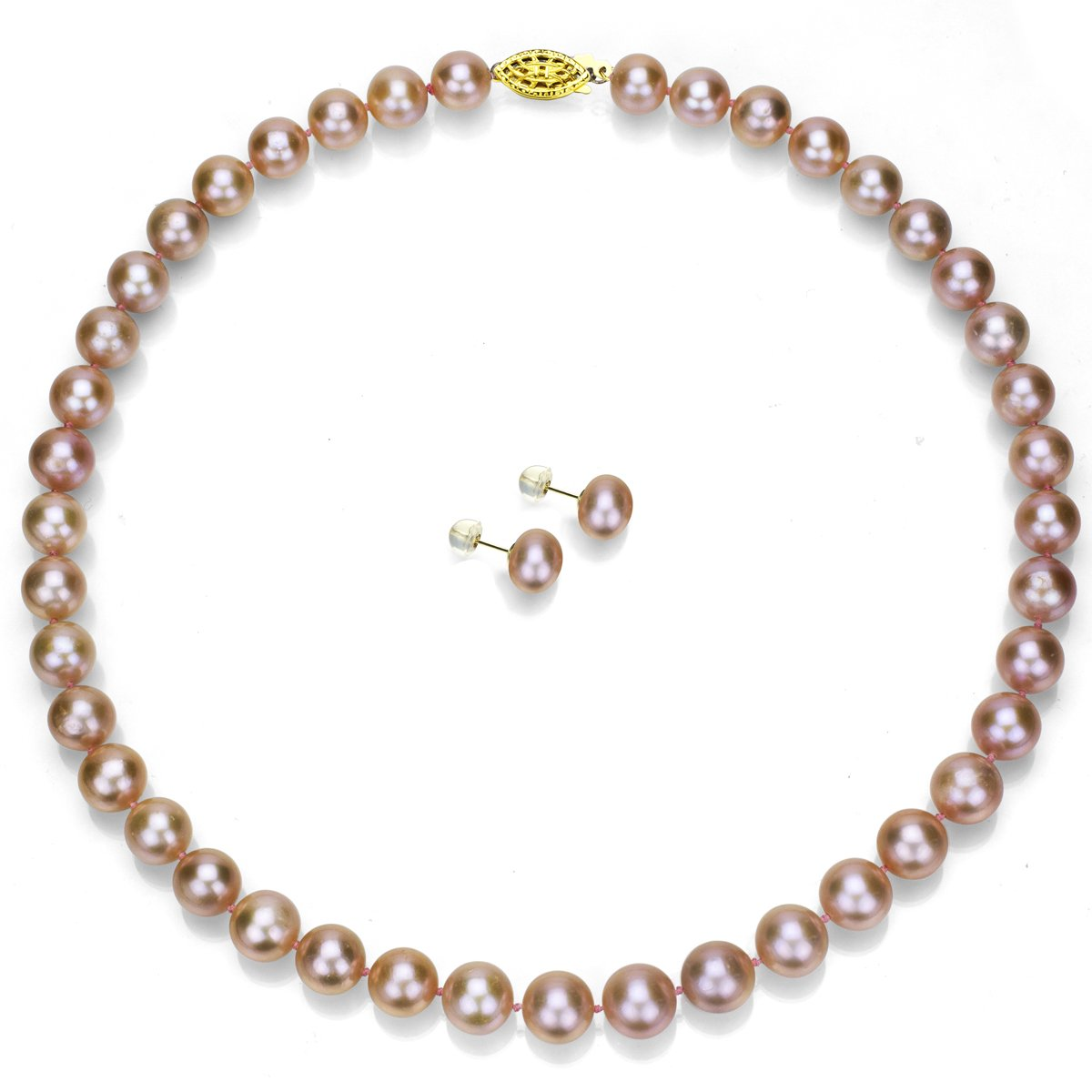 14k Yellow Gold 6-6.5mm Pink Freshwater Cultured Pearl Necklace 18'' and Stud Earrings Set
