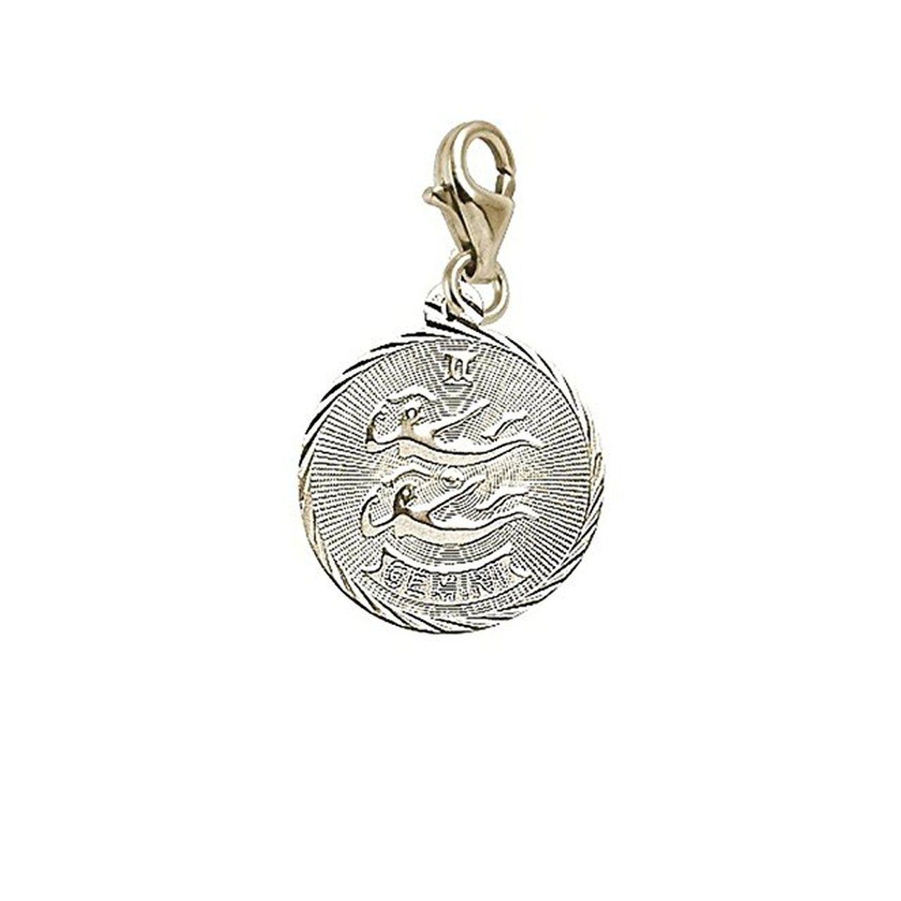 Charms for Bracelets and Necklaces 10k Yellow Gold Gemini Charm With Lobster Claw Clasp