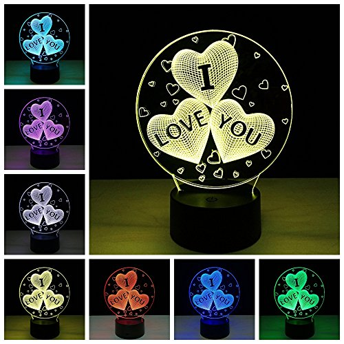 Lightess 3D Desk Lamp Colorful LED Romantic Night Light Touch Control  Decoration Lights For Christmas, Wedding, Valentine, Birthday Gift (I Love  You)