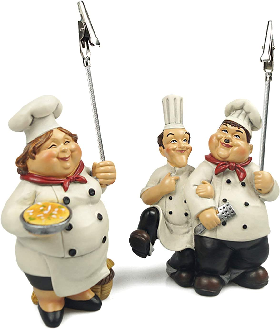 """upra Decorative Chef/Baker Figurines Kitchen Decor with Card Holders, A Pair of Christmas Ornament French Chef Master Figurine, Home Kitchen Restaurant Bakery Decor 5.5"""""""