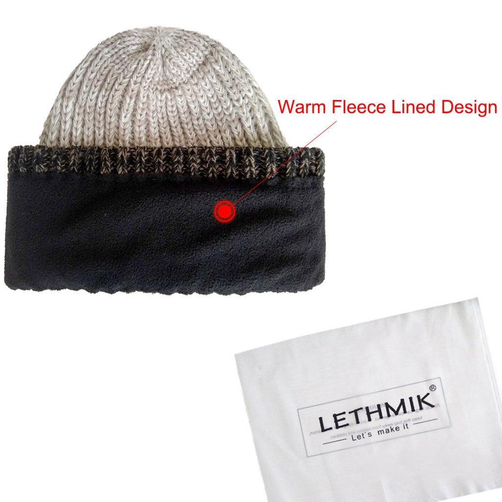 38bf9b134a7a0 LETHMIK Unique Winter Skull Beanie Mix Knit Slouchy Hat Ski Cap For Men    Women Beige at Amazon Men s Clothing store