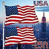 I-Choice 25 ft Outdoor Telescopic Aluminum Flag pole Kit with 3'x5' Nylon USA National Flag & Pole Gold Ball PVC Sleeve Heavy Duty 16 Gauge In-Ground Flag Pole, Home Garden Yard Use