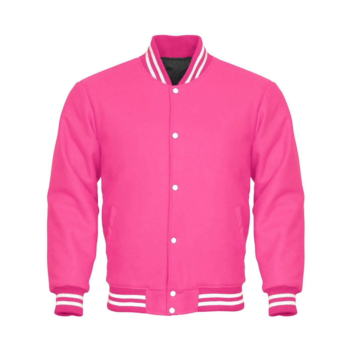 Letterman Varsity Jacket Full Wool Pink White (M) by Design Custom Jackets