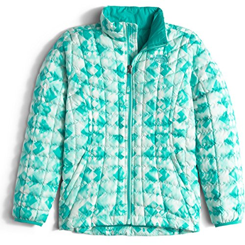 The North Face Thermoball Full Zip Jacket Girls' Ice Green Geo Print Large by The North Face