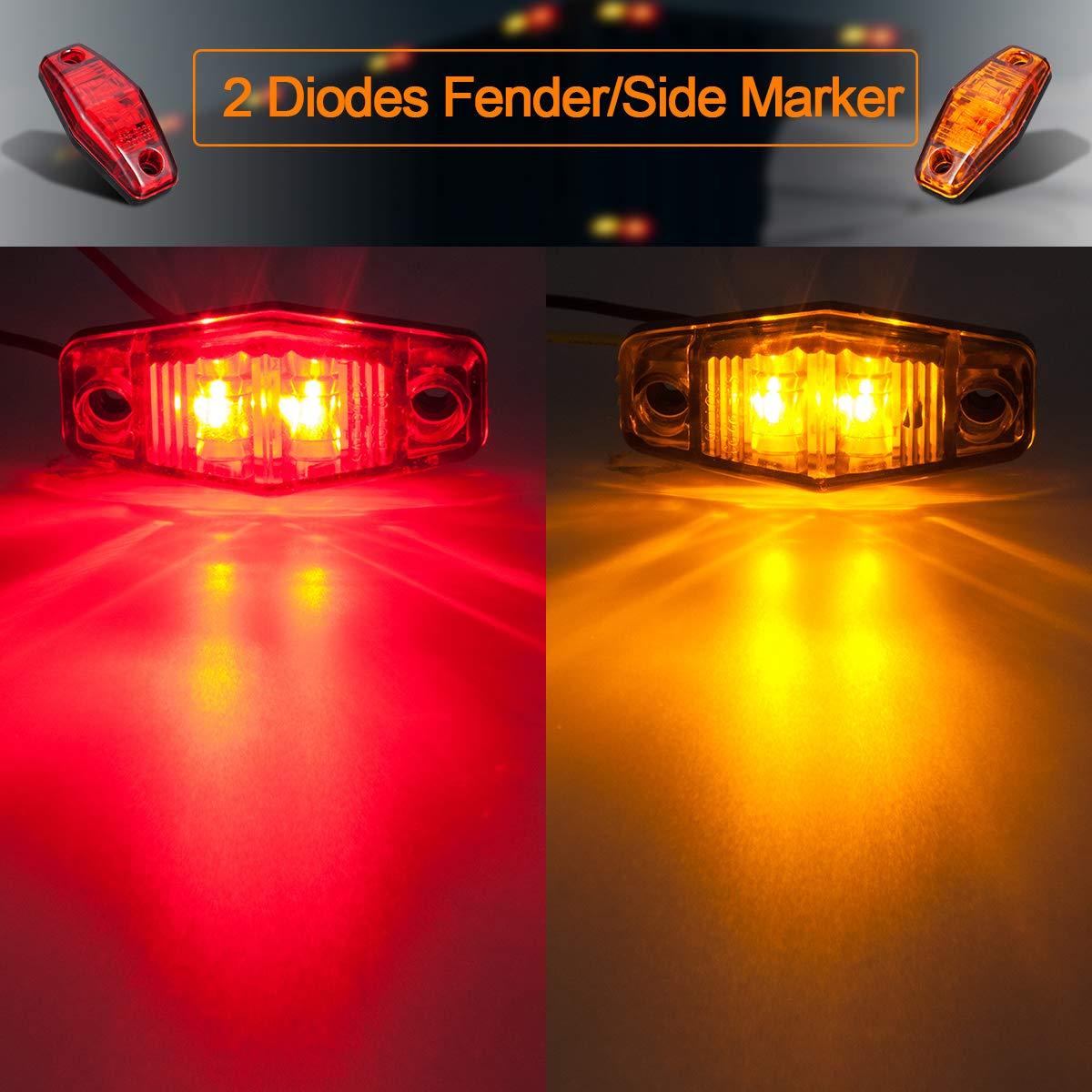 LIMICAR 8PCS LED Side Fender Marker Lights 4 Red 4 Amber Sealed Mini LED Side Marker Identification Lights 2 Wire 2 Diodes Mini-Sealed LED Surface Mount Design Truck Trailer Camper Lights